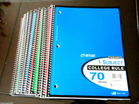 1 Subject 70 sheets college rule